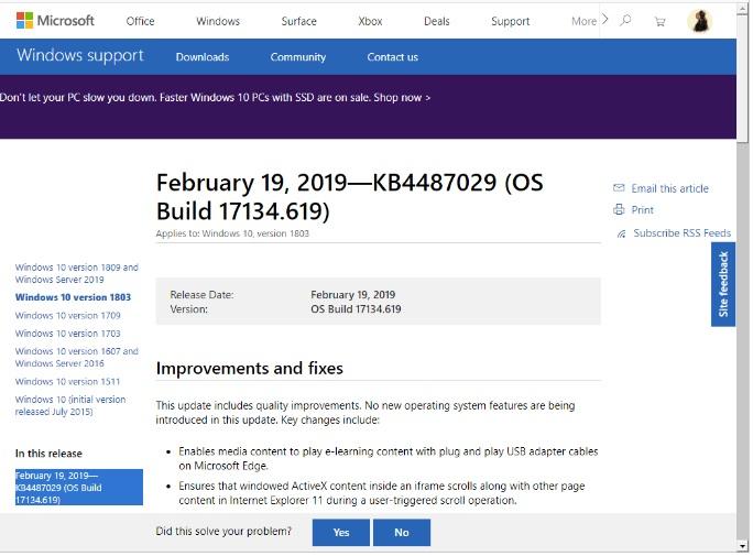 Microsoft Cumulative Updates Dated 19 February 2019 for