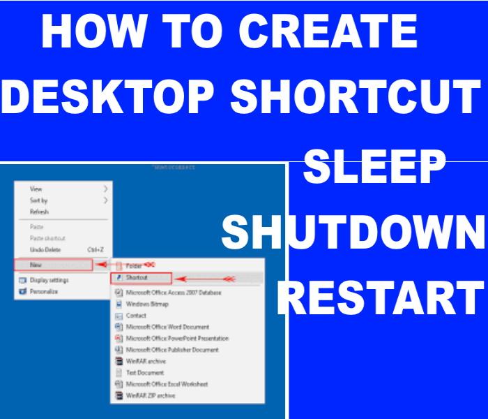 How to Create Shortcut of Sleep, Restart and Shutdown in ...